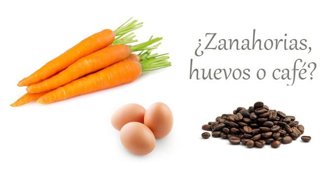 zanahoria huevo o cafe
